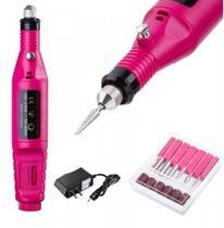 Lixa Eletrica de Unha Manicure e Pedicure Profissional 9V Rosa -
