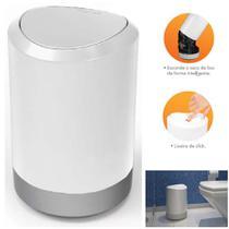 Lixeira 5 Litros Redonda Tampa Click Banheiro Cozinha Office Bancada - Pratk -