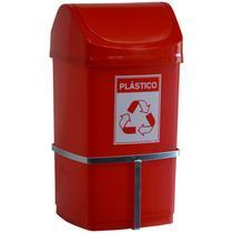 Lixeira 50 litros tampa basculante com suporte para parede e adesivo - Marfimetal Web