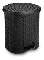 Lixeira 6L Com Pedal Rattan Preto Cozinha/Banheiro/Quarto de Bebê - Amilplast