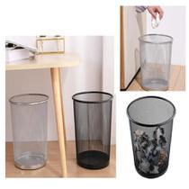 Lixeira cesto de metal aramado lixo 12 litros redondo telado para escritorio quarto sala loja - GIMP