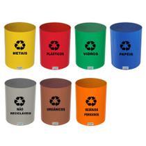 Lixeira Coleta Seletiva Plástico sem Tampa RED 13 L CJ 7 JS - Conjunto c/ 7 Un
