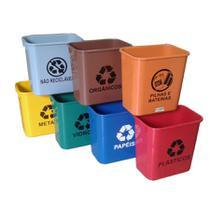 Lixeira Coleta Seletiva Plástico sem Tampa RET 12 L CJ 7 JS - Conjunto c/ 7 Un