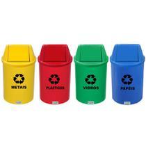 Lixeira Coleta Seletiva Plástico Tampa Vai e Vem Redonda 13 L CJ 4 JS - JSN