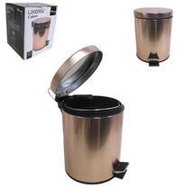 Lixeira com pedal redonda de inox e balde interno removivel crown metalizado rose gold 3l - WINCY