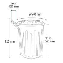 Lixeira com rodas container cesto de lixo fechado com tampa 100 litros com rodinhas coleta seletiva com alca marrom - ARQPLAST