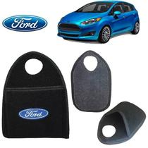 Lixeira de Carro Ford New FIesta Hatch Preto Bordado - Gt