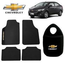 Lixeira de Carro+Tapete Chevrolet Prisma Preto Bordado - Gt
