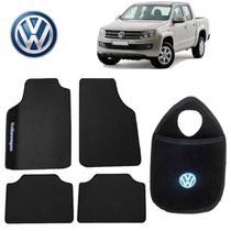 Lixeira de Carro+Tapete Volkswagen Amarok Preto Bordado - Gt
