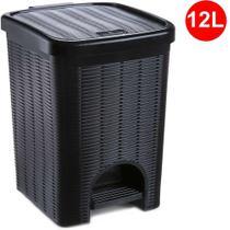 Lixeira Plástica com Pedal Vime cor Preta 12 Litros Ref. 163 Nitron -