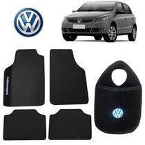 Lixeira+Tapete Volkswagen Gol Preto Bordado - Gt