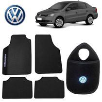 Lixo para Carro+Tapete VW Voyage Preto Bordado - Gt