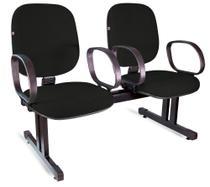 Longarina Diretor 2 Lugares Braços Tecido Preto - Shop Cadeiras