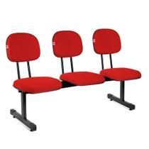 Longarina Secretária 3 Lugares Tecido Vermelho - Shop Cadeiras