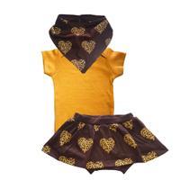Look animal print mostarda (bandana, manga curta + saia tapa-fraldas) Tam M - Alfa & Beta - Alfa & Beta Baby