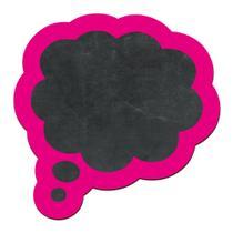 Lousa Decorativa - Balao Pensamento - Moldura Rosa 26X26CM ENCAIXO -