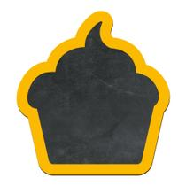 Lousa Decorativa - Cupcake - Moldura Amarela - Encaixo