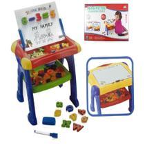 Lousa infantil magnetica mesa de desenho kit sala de aula em casa quadro com letras e numeros - Makeda
