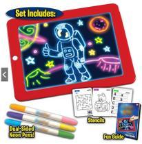 Lousa Magica 3D Led Quadro De Desenho Iluminado Infantil Kit Completo De Atividades - Makeda