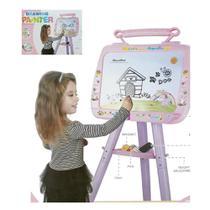 Lousa Quadro Branco Magnetico Infantil Com Cavalete E Kit De Letras E Numeros Pedestal Kit Didatico - Makeda