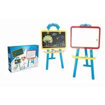 Lousa quadro branco magnetico infantil com cavalete pedestal e kit didatico giz e apagador completo - Makeda