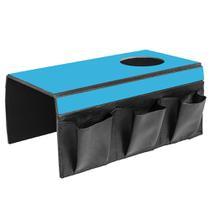 Lugar Americano para Sofá com 1 Espaço para Copo e 3 Bolsos - 40x30 cm - Laminado Azul - Evolux