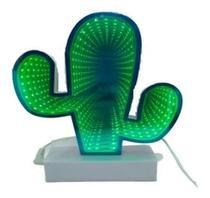 Luminária 3d Infinita Espelhada Led Cacto Efeito - Mega Light Brasil