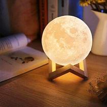 Luminaria 3D Touch Lua Cheia Abajur LED Decoracao USB RGB - amigold