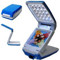 Luminária Abajur Articulado com Foto 20 Leds Recarregável Azul WMTLL80388 -