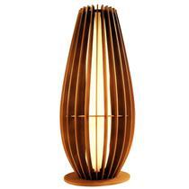Luminaria Abajur De Chão Em Madeira C/ Soquete E-27 Modelo O - E-Led Brasil