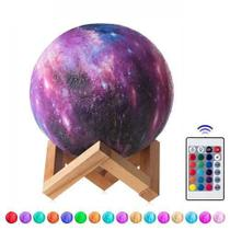 luminária Abajur Galaxia 16 cores recarregavel touch C/ Controle - Moon Light