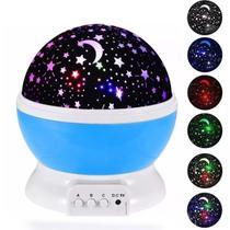 Luminária Abajur Gira Projetor Colorido De Estrelas Céu Galaxia Lua Infantil - Biashop