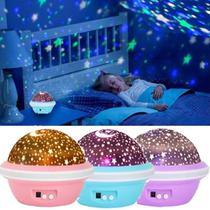 Luminária Abajur Luz Led De Estrela Céu Projetor Giratório Pilhas - Exclusivo