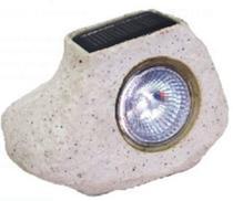 Luminária Baliza Solar Pedra Rustico C/1 Led Branca 10x14,3cm Cinza - DNI