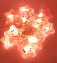 Luminária cordão de led estrela fio de luz 10 leds 2m rosa - Yutaka