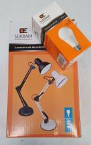 Luminária De Mesa Articulada Pixar, acompanha lampada led 5W, Base e Grampo - Branca - Sukram -