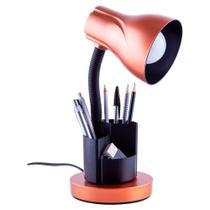 Luminaria de mesa escritório estudo spiralle porta lapis/caneta cobre - Startec