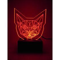 Luminária De Mesa Led Acrílico  Cabeça de Gato 3d Cat Bivolt Vermelho - Woodback