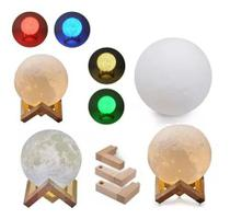 Luminária de Mesa Lua 3D Abajur Led Touch 4 Cores 14cm -