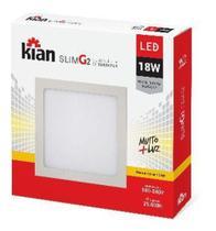 Luminária de Sobrepor Kian Quadrado LED Slim G2 Alt: 2,8cm Comp.: 21cm Larg: 21cm 18W 3000K Amarela. -