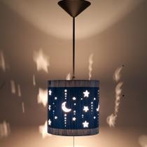 Luminária De Teto Infantil Lua E Estrelas Para Quarto (Azul) - Ecoestiluz