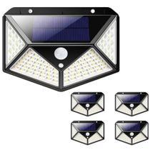 Luminária Energia Solar Parede Kit 5 unidades 100 Led 3 Funções Lampada Sensor Presença - ABMIDIA