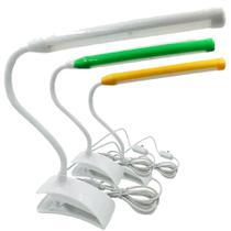 Luminária Flexível Com 13 Leds Clipe Prendedor Mesa Leitura - Exclusivo