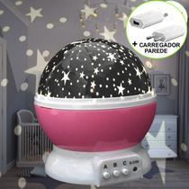 Luminária Infantil Projetor Abajur Criança Estrelas Rosa CBRN10684 - Commerce Brasil