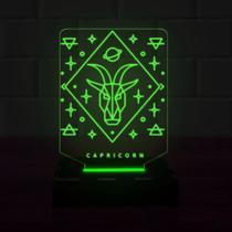 Luminária Led 3d Capricórnio 1 Cor Verde - 3D Fantasy