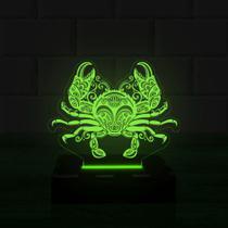 Luminária Led 3d Carangueijo 1 Cor Verde - 3D Fantasy