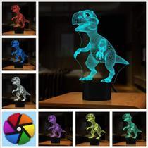 Luminária Led 3d Tiranossauro Dinossauro T-rex Acrílico - Exclusivo