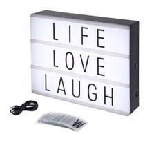 Luminária Led Mensagens light Box Tam. A4 USB 96 Letras - Onze22