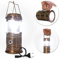 Luminária LED Retrátil Lampião Solar Recarregável Bivolt USB Dourado Lanterna Alças Luz Emergência - Prime