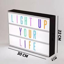Luminária Letreiro Palavras Light Box Cinema Painel Led 96 Letras Montável Festa Eventos Colorido -
